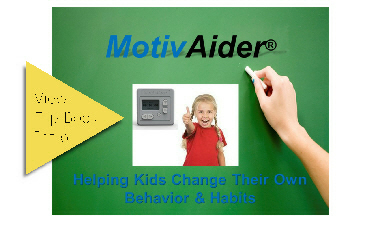 Flip book introduction to how the MotivAider helps kids change their own behavior